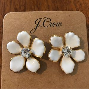 J Crew Statement White Floral Earrings